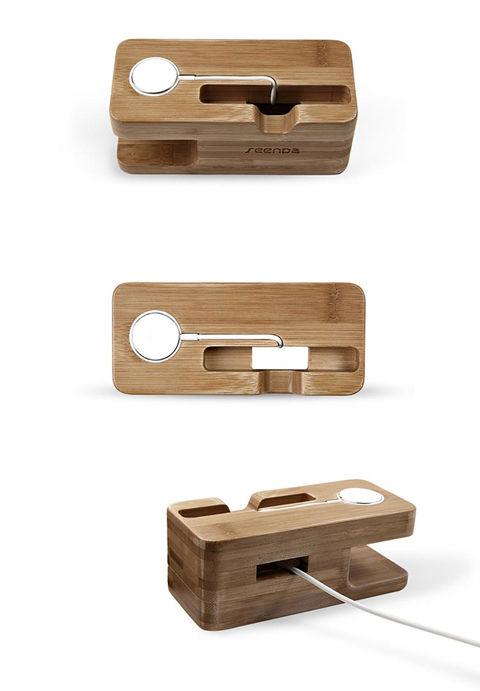 木製 Apple watch : iPhone 充電スタンド