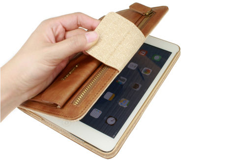 iPad mini3用 収納ポケット付き フェイクレザーケース