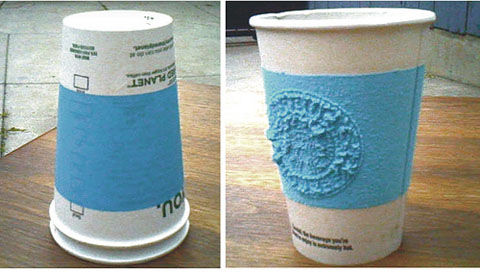 膨らむ断熱帯付き紙コップ