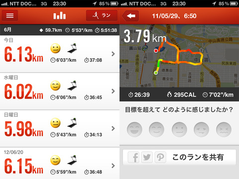 Nike+ Running アクティビティ