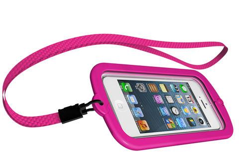 iBUFFALO iPhone5専用 防水ケース ネックストラップ&折りたたみスタンド付 ブラック BSIP12PCWPBK
