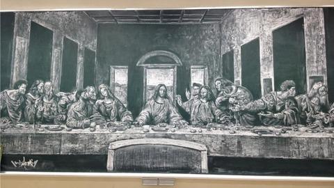 日本の高校生による黒板アート
