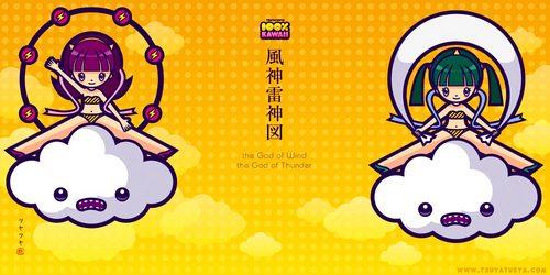 風神雷神図 the God of Wind and the God of Thunder Fujin Raijin 100%kawaii ふうじんらいじん 琳派 俵屋宗達 尾形光琳 酒井抱一 Rimpa