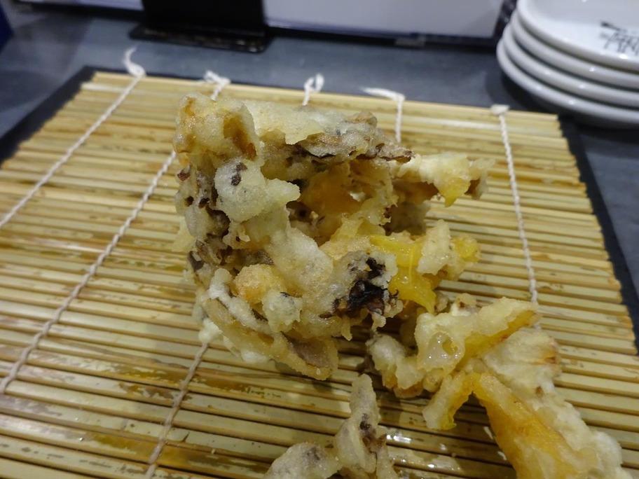 171001田意天7柿とキノコのかき揚げ