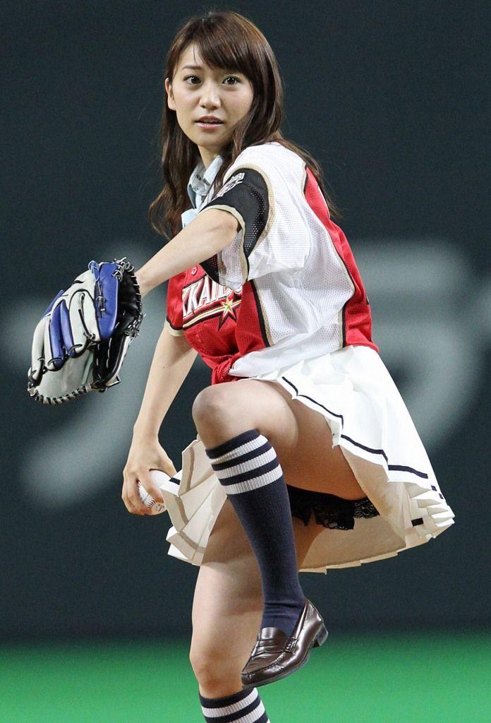 大島優子(24) ノーバン始球式ならずもパンチラ 中田翔を斬る 「ゴジラかと思いました」