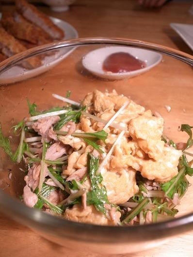 ツナと卵と水菜の濃いサラダb