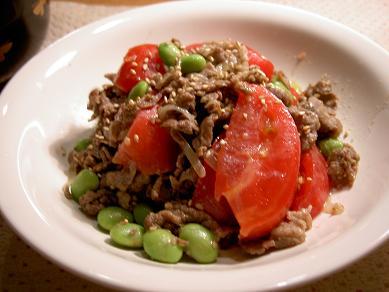 トマトと牛肉のみそ炒めサラダ