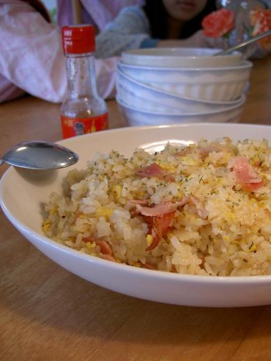 ベーコンの牡蠣オイルと牡蠣だし醤油チャーハンb