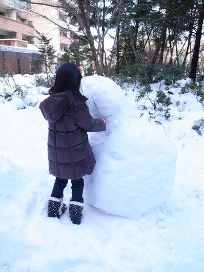 翌日の雪だるまb