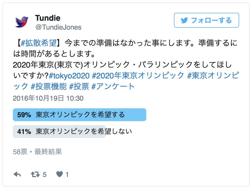 【#拡散希望】今までの準備はなかった事にします。準備するには時間があるとします。<br> 2020年東京(東京で)オリンピック・パラリンピックをしてほしいですか?#tokyo2020 #2020年東京オリンピック #東京オリンピック #投票機能 #投票 #アンケート — Tundie (@TundieJones) 2016年10月19日