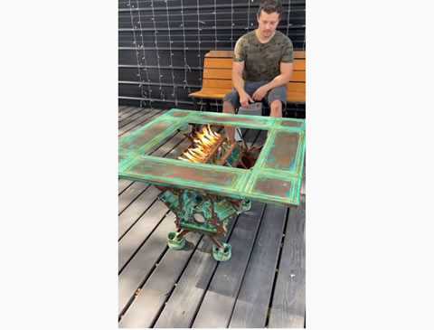 Impressive Engine Block Fire Pit