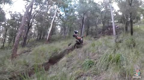 Rock Takes Down Dirt Biker