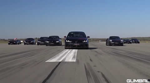 HUGE DRAG RACE WITH 10 CARS