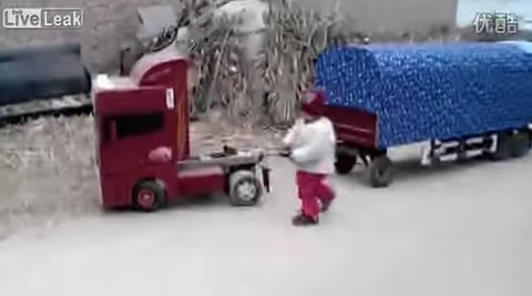 Toddler Plays with Giant RC Toy