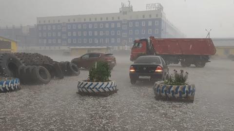 Huge Hailstorm Pummels Parked Car