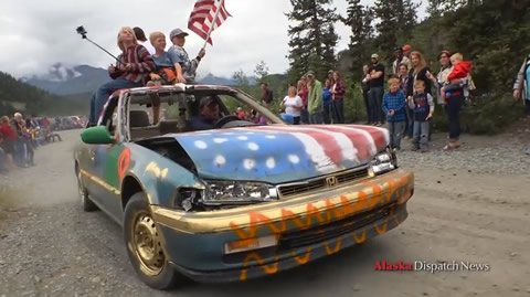 Cars fly on the Fourth of July