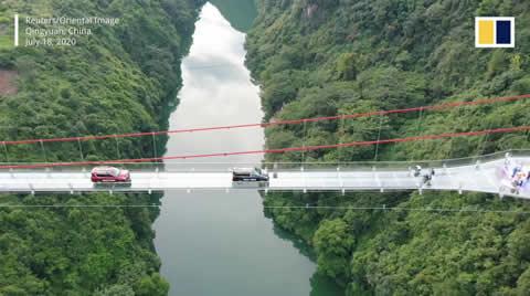 New glass bridge thrills visitors with walk
