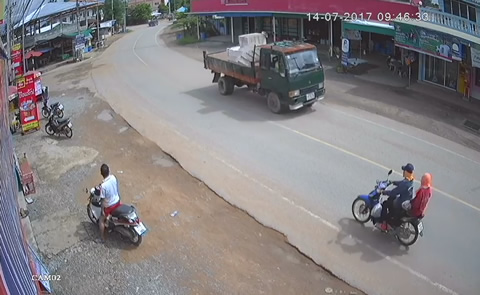 Lucky Motorcyclists Escape Bricks Falling from Truck