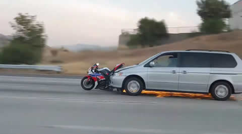 Hit and Run Driver Drags Motorcycle on 91 Freeway