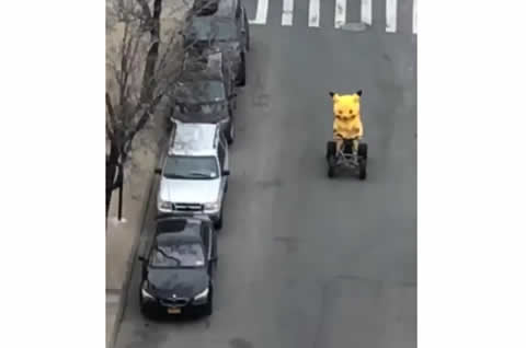 Pikachu Behind the Wheel