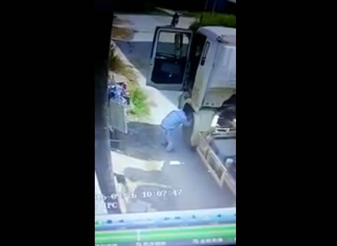 Cement truck driver steals woman's underwear