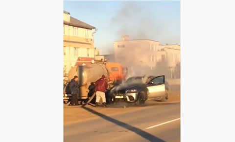 BMW on fire shit saving