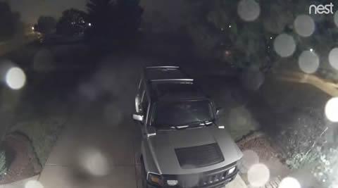 Wind Blows Trampoline onto Hummer SUV