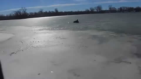 Drone Captures Snowmobile Breaking Through Ice - 984763