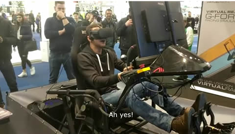 EXTREMELY EXCITED Guy Tries a VR Racing Motion Simulator