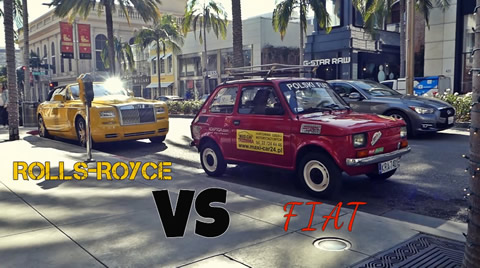FIAT 126 VS ROLLS ROYCE PHANTOM IN BEVERLY HILLS