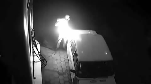 Dopey motorists set fire to petrol station