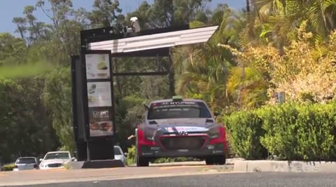 Hyundai i20 WRC car visits McDonalds drive-thru