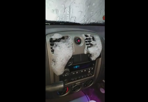 Soap Suds Come Through Vehicle's Air Vents During Car Wash