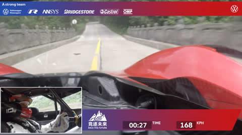 フォルクスワーゲンID.R 中国天門山ビッグゲートロード 世界最速記録時のオンボード映像