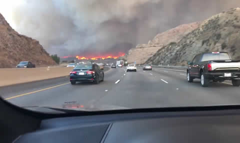 Camarillo Fire Surrounds Highway