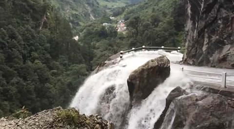 Dangerous Waterfall and Road in NEPAL