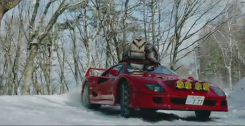 Drifting a Ferrari F40 in Snow Up To Base Camp