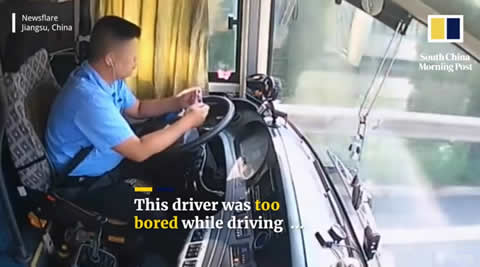 Bored driver in China smashes coach