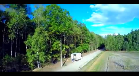 Drone yells at truckie for dumping rubbish in the wood