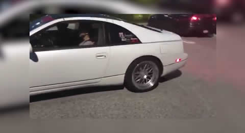 Guy thinks he's doing a burnout and blows up 300ZX