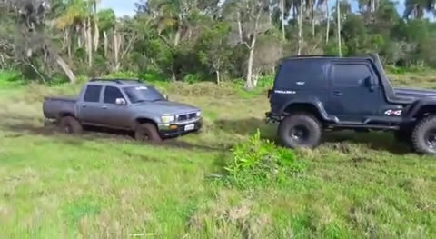 Unstucking A Truck From The Mud