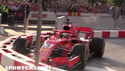 Sebastian Vettel Crashes His Ferrari SF71H