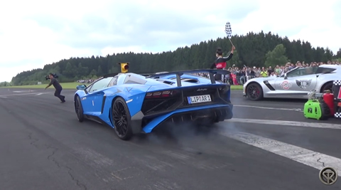 IDIOT ALMOST GETS RAN OVER BY AN AVENTADOR LP750 SV