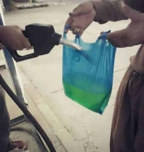 Gasoline in bag