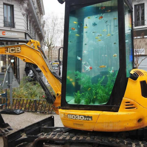 Heavy machine aquarium