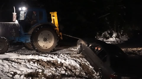 Pulling it out of the ditch goes wrong