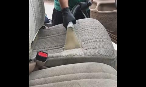 Guy Vacuums Dirt off Car Seat