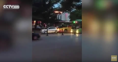 Bus driver intentionally hits car