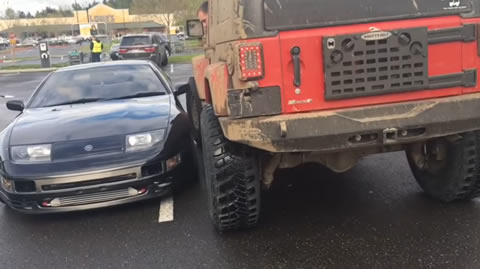 Jeep owner wants to block a double parked Nissan