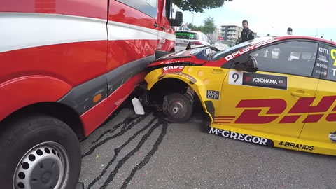 Bizarre crash into firetruck